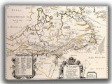 De Champlain, Samuel: Map of Canada. Antique/Vintage 17th Century Map. Fine Art Canvas. Sizes: A4/A3/A2/A1 (003899)